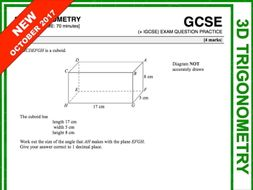 GCSE 9-1 Exam Question Practice (3D Pythagoras + Trigonometry)