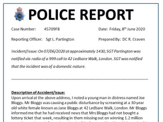 NON FICTION TEXT How to write a Police Crime Report KS3