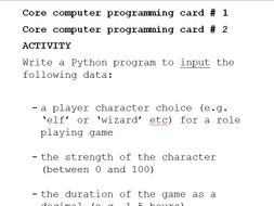GCSE Computer Science - core programming in Python