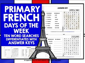 PRIMARY FRENCH DAYS OF WEEK WORD SEARCHES