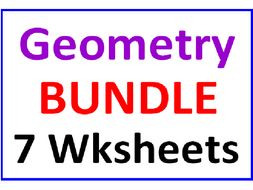 Geometry Bundle 7 Worksheets Incl. Word Problems