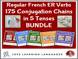 Regular French ER Verbs Conjugation Chains in 5 Tenses BUNDLE - Primary French