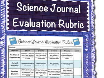 Science Journal Evaluation Rubric
