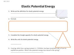 Gcse Physics Worksheet Elastic Potential Energy