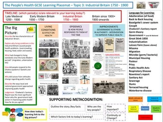 9-1 OCR History B, History Learning/Topic Placemats for The People's Health: Industrial Revolution