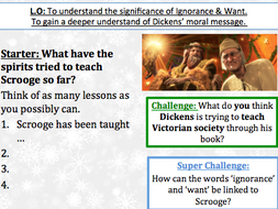 Christmas Carol Stave 3 - Importance of Ignorance and Want - Lesson and work sheet | Teaching ...