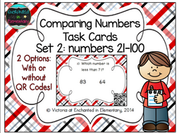 Comparing Numbers 21-100 Task Cards: 1st Gr CC: Number & Operations in Base Ten