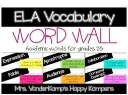 ELA Vocabulary Word Wall
