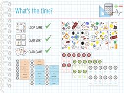 Telling the time - 3 GAMES (CARD GAME, CARD SORT, LOOP GAME)