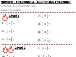 Number - Fractions 4 - Multiplying Fractions