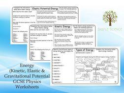 GCSE Physics - Energy (Kinetic, Elastic and Gravitational) Worksheets