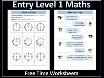 Time Worksheets: AQA Entry Level 1 Maths