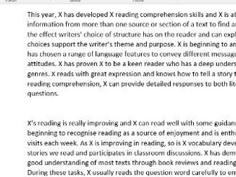 KS2 reading report comment bank