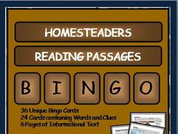 Reading Passages and Bingo - Early American Homesteaders
