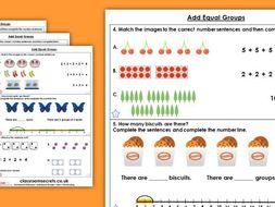 Year 1 Add Equal Groups Summer Block 1 Maths Homework Extension