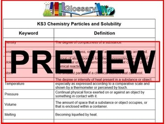 KS3 Science Glossary Chemistry Particles and Solubility (Blank & Completed)