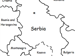 SERBIA - Printable handout with simple map and flag
