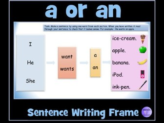 Writing Frame For The Article / Determiner 'a' or 'an'