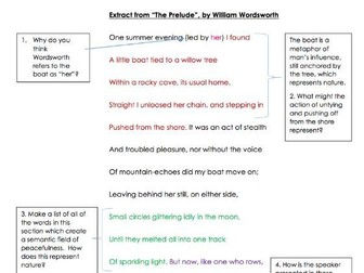"GCSE Poetry Anthology: Extract from ""The Prelude"" Analysis Task"