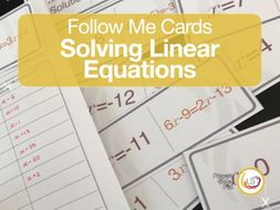 Linear Equations Follow Me Cards - A game for Algebra