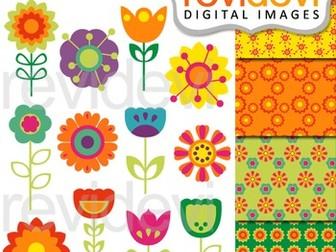 Clip art bundle modern spring flowers by revidevi teaching flowers clip art clipart spring flowers mightylinksfo