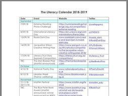 Literacy Calendar 2018-19