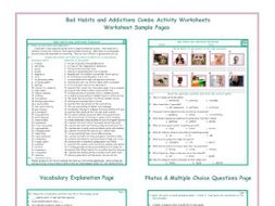 Bad Habits and Addictions Combo Activity Workshee