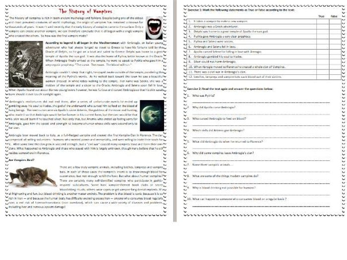 The History Of Vampires   Halloween Reading Comprehension Worksheet