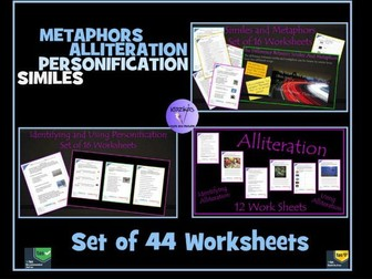 Personification, Alliteration, Similes and Metaphors: 44 Worksheets
