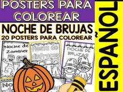 Coloring Posters in Spanish - Halloween (20 posters)