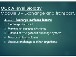 OCR A level Biology (H020) Module 3 - Exchange surfaces series of lessons