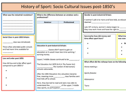 A-Level PE: History of Sport (Pre/Post Industrial) Summary Sheet