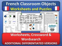 French Classroom Objects Worksheets (Les Objets de la Classe)