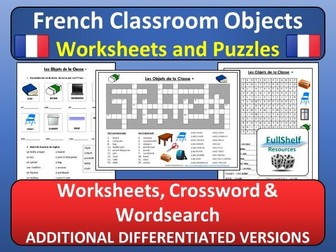 French Classroom Objects Worksheets (Les Objets de la Classe)