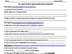 The Sun, Moon, and Earth web-quest introduction.
