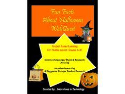 Fun Facts about Halloween WebQuest / Internet Scavenger Hunt