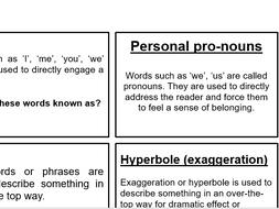 Who am I? Non-fiction language technique cardsort