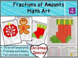 Christmas Maths Fractions of Amounts Math Art Worksheets