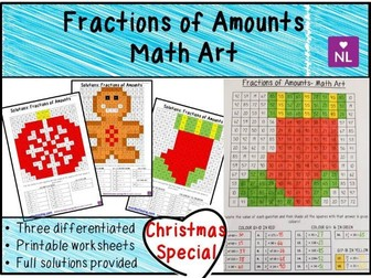Christmas Maths Fractions of Amounts Math Art Worksheets