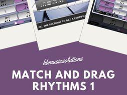 Match And Drag Music Rhythm 1 KS2 and KS3