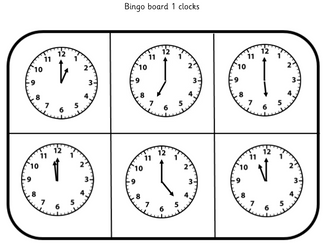 Time Bingo: Telling the time to the hour
