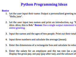 64 Python programming exercise ideas (Beginners to advanced)