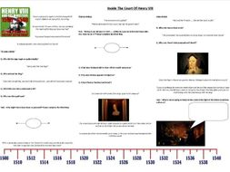 Inside the Court of Henry VIII - Worksheet to support the Documentary