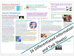 Judaism: Information and Task Sheets for Whole Topic
