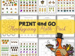 Thanksgiving Math Worksheets Print and Go | NO-PREP | TeKa Kinderland