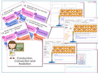 AfL Quiz and Worksheets -  Conduction, Convection and Radiation.
