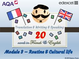 GCSE French - Q&A / Translation Card Set (Module 3: Routine & Celebrations)