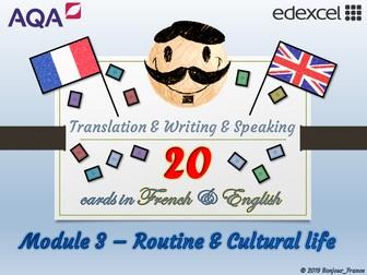 GCSE French - Q&A / Translation Card Set (Module 3: Routine & Celebrations)
