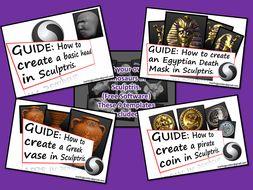 3D Sculptris Guides Bundle - Basics, Dinosaurs, Pirates, Egyptians and Greeks.