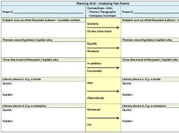 Planning Table For Comparing Two Poems (GCSE / A Level)